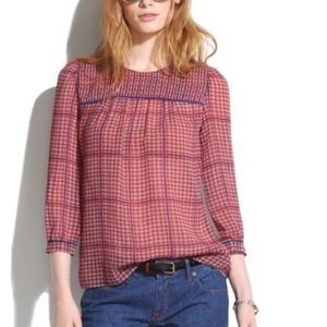 Madewell Silk Peasant Blouse in Retrogrid size M